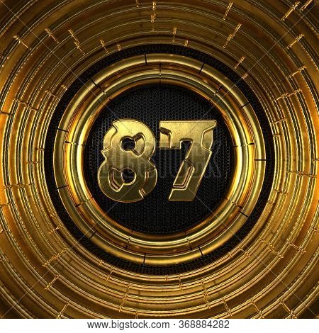 Gold Number 87 (number Eighty-seven) With Perforated Black Metal Background And Gold Rings Around. 3
