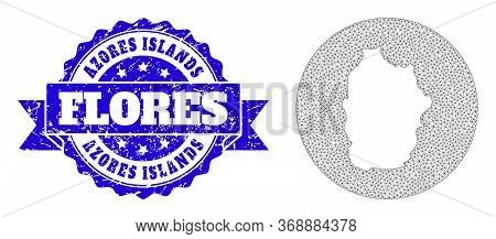 Mesh Vector Map Of Azores - Flores Island With Grunge Stamp. Triangle Network Map Of Azores - Flores