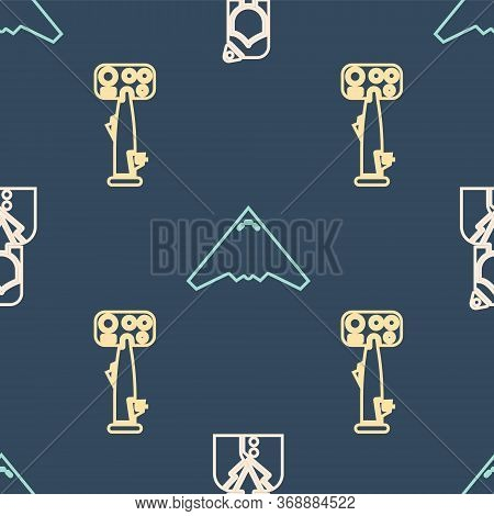 Set Isometric Stewardess, Aircraft Steering Helm And Jet Fighter Icon. Vector.