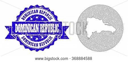Mesh Vector Map Of Dominican Republic With Scratched Seal Stamp. Triangle Mesh Map Of Dominican Repu