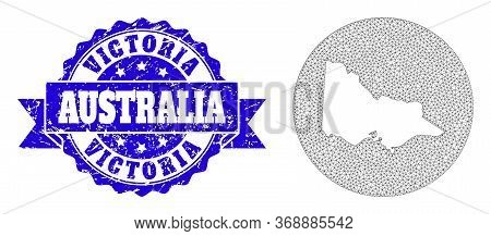 Mesh Vector Map Of Australian Victoria With Grunge Stamp. Triangle Net Map Of Australian Victoria Is