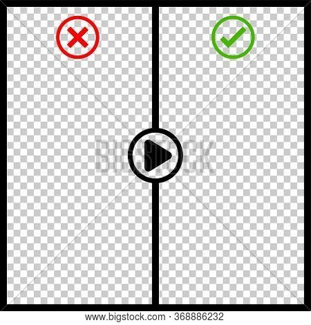 Template Video Player Transparent For Background, Interface Video With Wrong Or Right And Play Butto