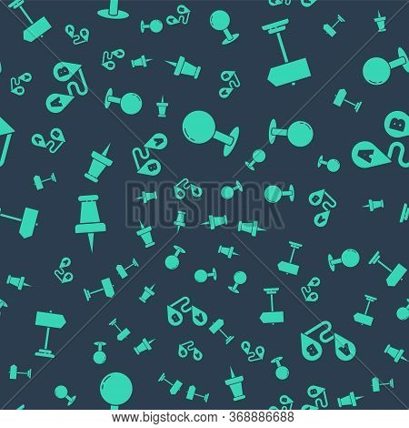 Set Push Pin, Road Traffic Sign, Push Pin And Route Location On Seamless Pattern. Vector.