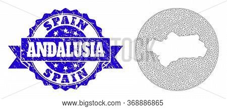 Mesh Vector Map Of Andalusia Province With Grunge Stamp. Triangular Mesh Map Of Andalusia Province I