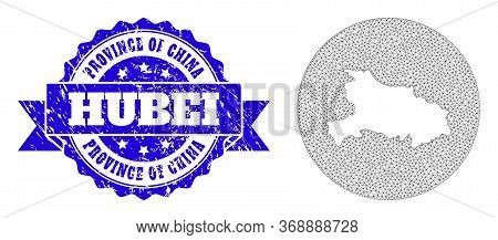 Mesh Vector Map Of Hubei Province With Grunge Seal Stamp. Triangular Mesh Map Of Hubei Province Is S