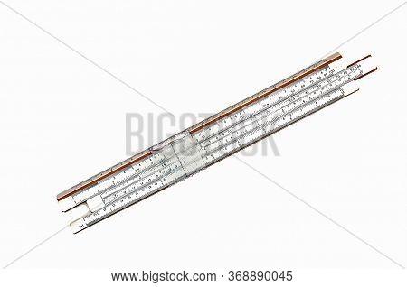 Vintage Antique Slide Ruler, Logarithmic Scale. Slide Logarithmic Ruler For Mathematical Calculation
