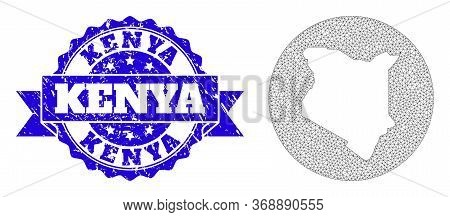 Mesh Vector Map Of Kenya With Scratched Seal Stamp. Triangular Mesh Map Of Kenya Is Carved In A Circ