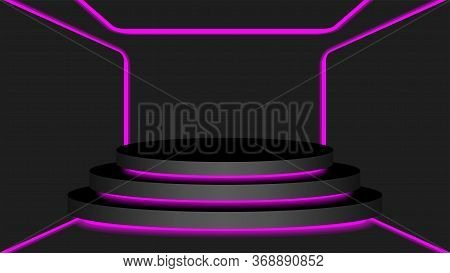Black Circle Pedestal 3d And Purple Light Neon Lamp Glowing, Cosmetics Display Modern And Led Light,