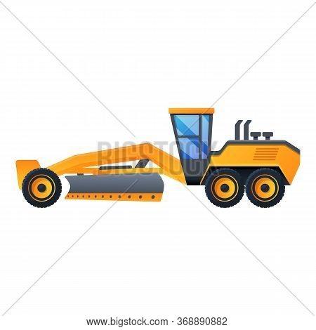 Demolition Grader Machine Icon. Cartoon Of Demolition Grader Machine Vector Icon For Web Design Isol