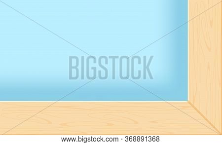 Window Frame And Glass Close Up, Window Wood With Glass Material For Copy Space, Wooden Window Sill