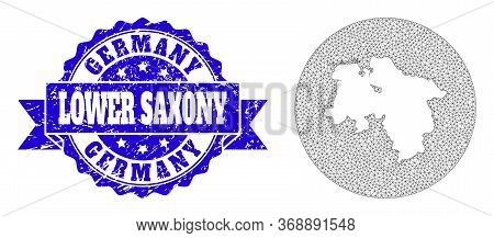 Mesh Vector Map Of Lower Saxony State With Grunge Seal Stamp. Triangular Mesh Map Of Lower Saxony St