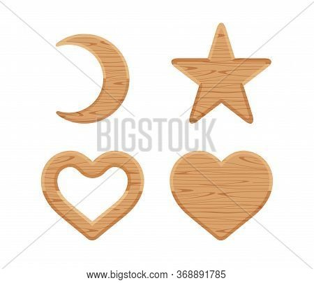 Wooden Crescent Moon, Star Wood Cute, Heart Shaped Wood, Wooden Heart Frame Shape, Different Shapes