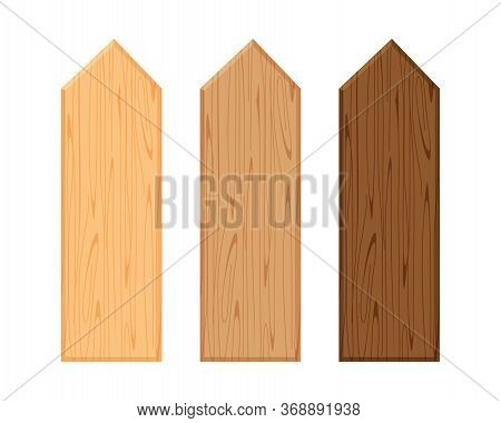 Wooden Fence Different Color Collection Isolated On White, Plank Panel Of Fence Board, Picket Wood,