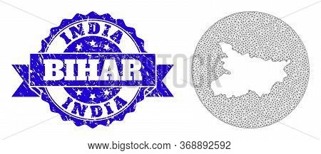 Mesh Vector Map Of Bihar State With Scratched Seal. Triangle Mesh Map Of Bihar State Is Subtracted F