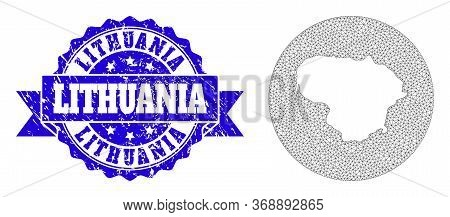 Mesh Vector Map Of Lithuania With Scratched Stamp. Triangle Net Map Of Lithuania Is Cut Out From A R