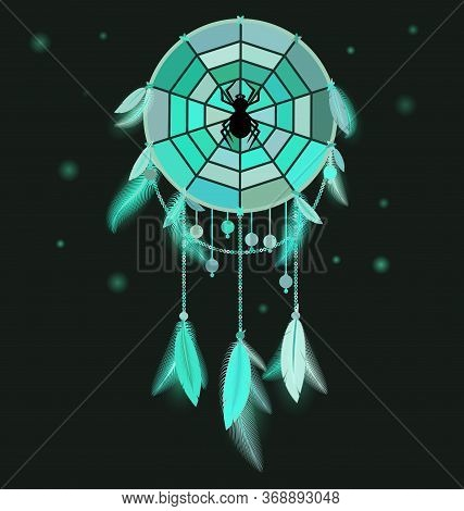Vector Illustration Colored Image Of Dreamcatcher With Feathers And Spider