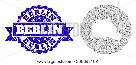 Mesh Vector Map Of Berlin City With Scratched Stamp. Triangle Mesh Map Of Berlin City Is A Hole In A