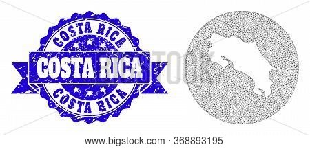 Mesh Vector Map Of Costa Rica With Scratched Watermark. Triangular Mesh Map Of Costa Rica Is Inverte