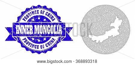 Mesh Vector Map Of Inner Mongolia With Grunge Seal Stamp. Triangle Mesh Map Of Inner Mongolia Is Cut