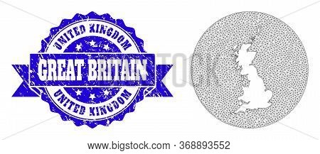 Mesh Vector Map Of Great Britain With Grunge Seal Stamp. Triangular Mesh Map Of Great Britain Is A H