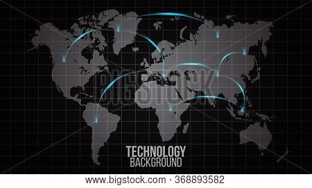 Global Network Abstract Of World Connection Concept.big Data Visualization.social Network Communicat