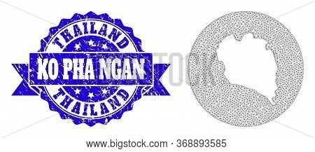 Mesh Vector Map Of Ko Pha Ngan With Grunge Seal Stamp. Triangular Mesh Map Of Ko Pha Ngan Is Carved