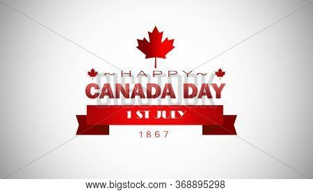 The Inscription Happy Canada Day With The Colors Of The National Flag. Canada Day Holiday Concept.