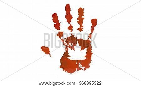 Red Handprint With A Maple Leaf On The Palm. Canada Day Holiday Concept.