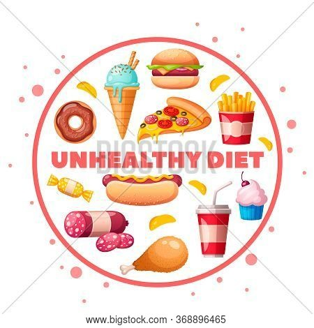 Nutritionist Dietitian Food To Avoid Unhealthy Products Cartoon Circular Composition With Hamburger