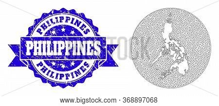 Mesh Vector Map Of Philippines With Grunge Stamp. Triangular Mesh Map Of Philippines Is Inverted In