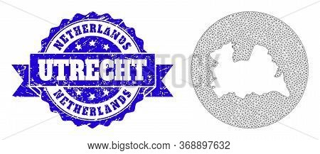 Mesh Vector Map Of Utrecht Province With Grunge Seal Stamp. Triangular Mesh Map Of Utrecht Province