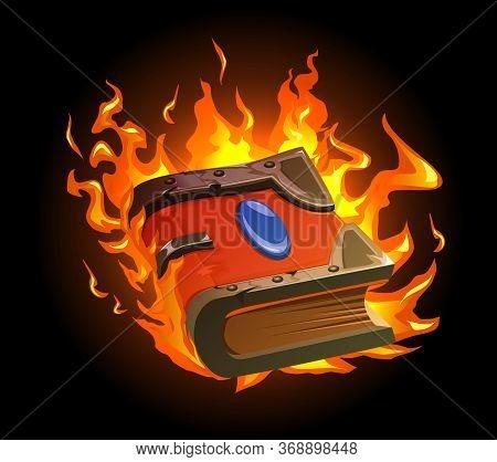 Burning Magic Book Cartoon Concept With Ancient Manuscript Symbols Vector Illustration