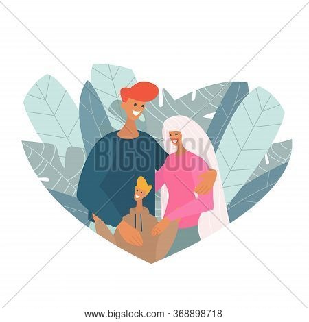Bright Poster Happy Family With Children.the Concept Of State Protection For Families With Children.