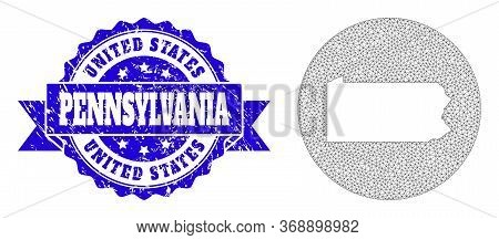 Mesh Vector Map Of Pennsylvania State With Grunge Seal. Triangle Net Map Of Pennsylvania State Is In