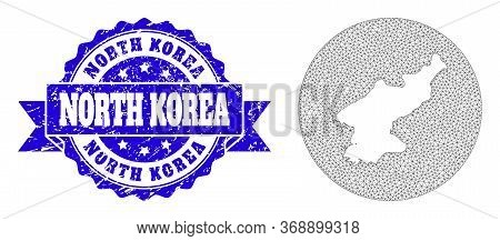 Mesh Vector Map Of North Korea With Grunge Watermark. Triangle Net Map Of North Korea Is A Hole In A