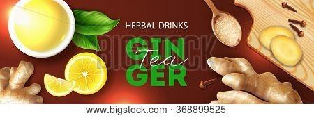 Herbal Drinks Realistic Horizontal Banner Header  With Ginger Lemon Clove Detox Tea Ingredients Top