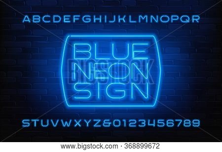 Blue Neon Sign Alphabet Font. Glowing Neon Color Letters And Numbers. Brick Wall Background. Stock V