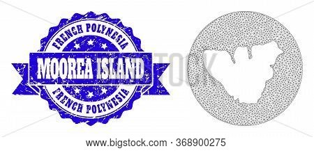 Mesh Vector Map Of Moorea Island With Scratched Stamp. Triangle Mesh Map Of Moorea Island Is Stencil
