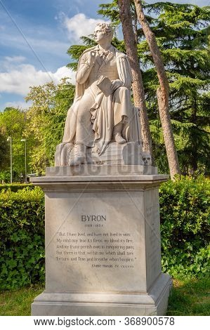Monument To George Gordon Byron At The Villa Borghese Gardens In Rome, Italy