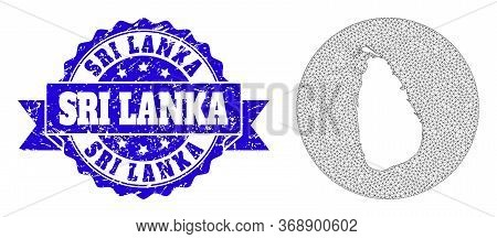 Mesh Vector Map Of Sri Lanka With Scratched Seal. Triangle Mesh Map Of Sri Lanka Is Carved In A Circ