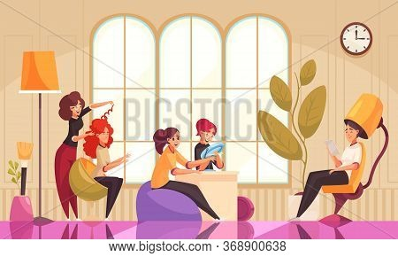 Makeup Beautician Stylist Composition With Beauty Salon Interior Indoor Scenery And Female Clients D
