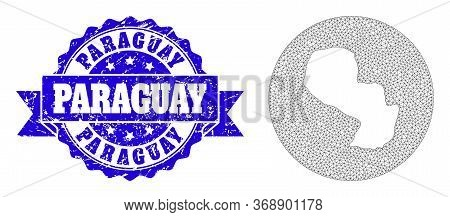 Mesh Vector Map Of Paraguay With Scratched Seal Stamp. Triangle Mesh Map Of Paraguay Is A Hole In A