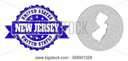 Mesh Vector Map Of New Jersey State With Scratched Stamp. Triangle Mesh Map Of New Jersey State Is A