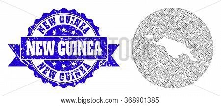 Mesh Vector Map Of New Guinea Island With Grunge Seal Stamp. Triangular Mesh Map Of New Guinea Islan