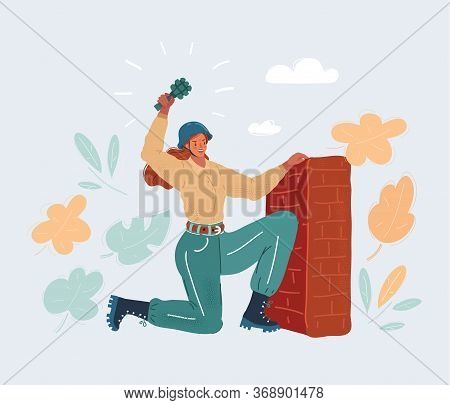 Vector Illustration O Woman Throwing Grenade From Entrenchment Wall.