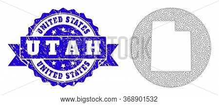 Mesh Vector Map Of Utah State With Grunge Seal Stamp. Triangular Net Map Of Utah State Is A Hole In