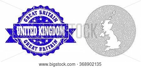 Mesh Vector Map Of United Kingdom With Scratched Watermark. Triangle Network Map Of United Kingdom I