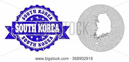 Mesh Vector Map Of South Korea With Grunge Stamp. Triangle Mesh Map Of South Korea Is A Hole In A Ci