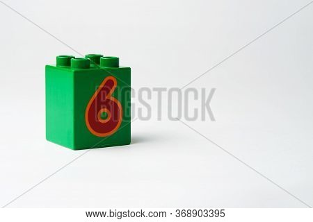 The Number Six Written On The Block From The Childrens Constructor