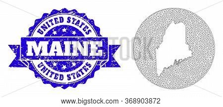 Mesh Vector Map Of Maine State With Scratched Seal. Triangle Net Map Of Maine State Is Stencils In A